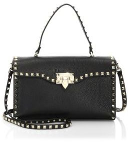 VALENTINO GARAVANI Small Rockstud Leather Top-Handle Satchel