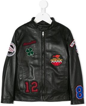 Dolce & Gabbana Kids multi-patch leather jacket