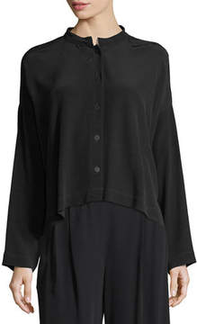 Eileen Fisher Long-Sleeve Mandarin-Collar Crinkle Crepe Box Top