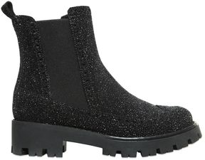 Ermanno Scervino Glittered Reverse Leather Ankle Boots