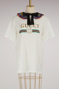 Gucci print collared cotton t-shirt