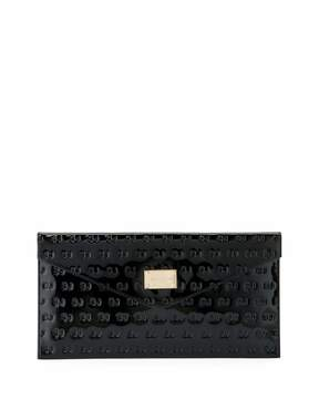 St. John Collection Logo Patent Leather Envelope Clutch Bag