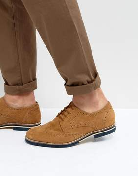 Dune Brogues In Tan Suede
