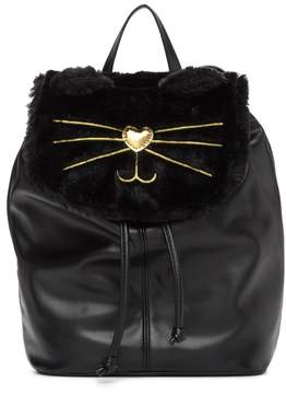 T-Shirt & Jeans Faux Fur Cat Backpack