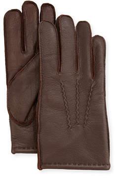 Neiman Marcus Three-Point-Stitch Leather Gloves