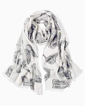 White House Black Market Living Beyond Breast Cancer Butterfly Print Oblong Scarf