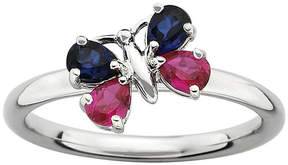 JCPenney FINE JEWELRY Personally Stackable Lab-Created Ruby and Blue Sapphire Butterfly Ring
