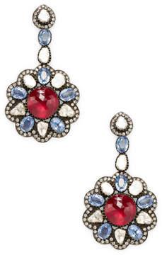 Amrapali Women's Diamond, Ruby and Blue Sapphire Drop Earrings