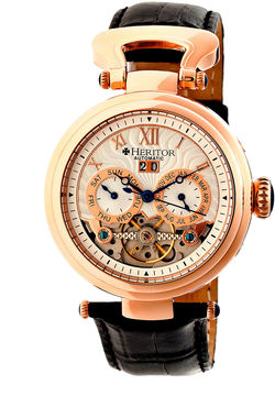 Heritor Automatic Ganzi Mens Leather Day & Date-Rose Gold/Silver Watches