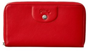 Longchamp Le Pliage Cuir Leather Long Zip Around Wallet. - RED - STYLE