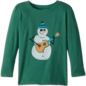 Life is Good Jammin' Snowman Long Sleeve Crusher Tee Boy's T Shirt