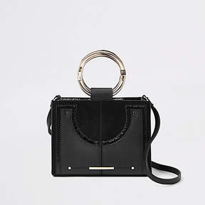 River Island Black metal hoop mini cross body bag