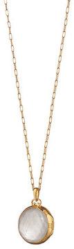 Monica Rich Kosann 18k White Crystal Mother-of-Pearl Locket Necklace