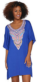 Ellen Tracy As Is Silky Smooth Short Caftan with Bib Detail