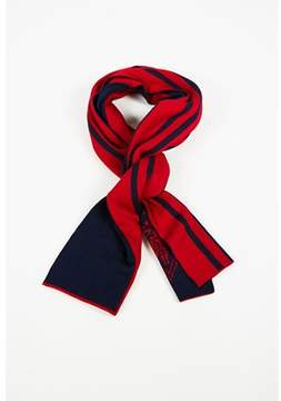 Gucci Pre-owned Blue & Red Wool Knit Long Striped Stole Scarf.