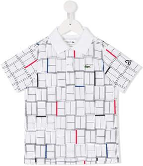 Lacoste Kids grid print polo shirt