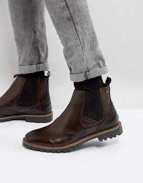 Base London Bosworth Leather Brogue Chelsea Boots In Brown