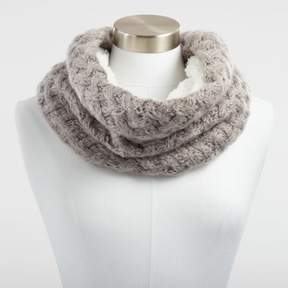 World Market Gray Chunky Knit and Faux Sherpa Snood Scarf