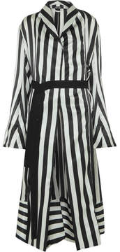 Ann Demeulemeester Striped Silk-satin Robe - Black