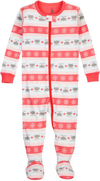 Petit Lem Striped Fox Graphic Footie Sleeper, Coral, Size 5-7