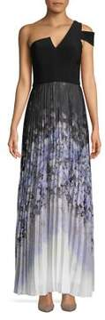 Betsy & Adam One-shoulder Pleated Gown