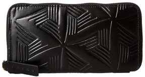 MARNI Flower Embossed Calf Leather Card Wallet