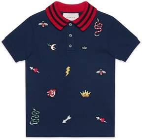 Gucci Children's polo with symbols embroidery