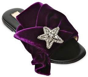 N°21 Embellished Velvet Slide Sandals