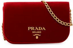 Prada Small Velvet Flap Crossbody Bag