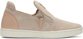 Giuseppe Zanotti Pink Suede London Slip-On Sneakers