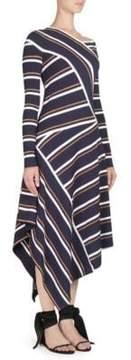 Cédric Charlier Striped Knit Mock Wrap Dress