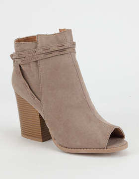 Qupid Peep Toe Tassel Womens Booties