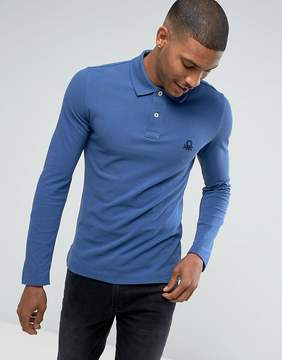 Benetton Muscle Fit Long Sleeve Polo Shirt In Blue