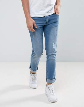 Loyalty And Faith Slim Fit Jeans with Abbriasions in Light Wash