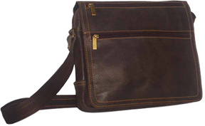 David King Leather 6155 Distressed Double Zip Flap Messenger