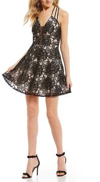 B. Darlin Sequin Rose Lace Fit-And-Flare Dress