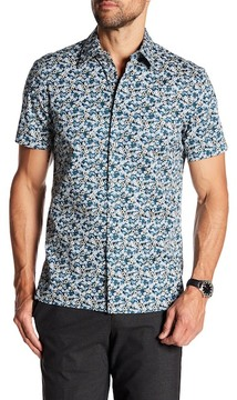 Perry Ellis Floral Print Short Sleeve Slim Fit Shirt