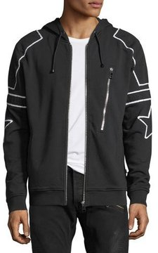 Just Cavalli Star-Patch Zip-Front Hoodie
