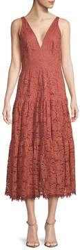 Dress the Population Women's Madelyn Plunging Lace Midi Dress