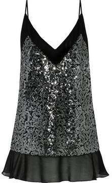By Malene Birger Purle Georgette-Paneled Sequined Tulle Top