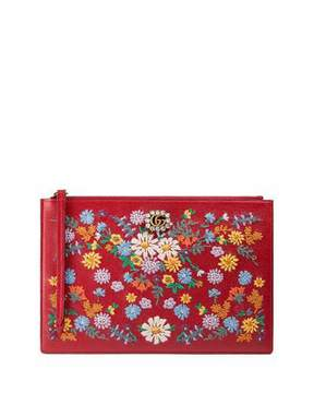 Gucci Ricamo Fiori Floral-Embroidered Clutch Bag - GREEN PATTERN - STYLE