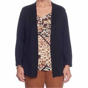 Alfred Dunner Jungle Love 3/4 Sleeve Cowl Neck Animal T-Shirt-Womens
