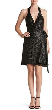 Dress the Population Women's Danielle Sequin Wrap Mini Dress