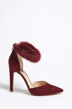Forever 21 Faux Fur Ankle Strap Heels