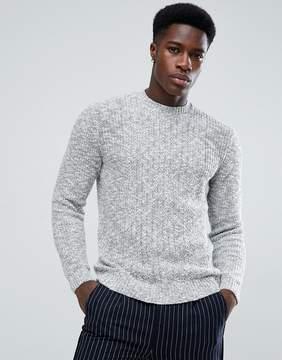 MANGO Man Chunky Knit Sweater In Gray