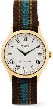 Timex Archive Whitney Avenue Gold-Tone And Striped Grosgrain Watch