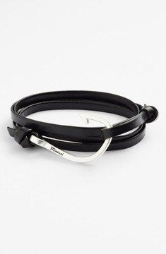Miansai Men's Silver Hook Leather Bracelet