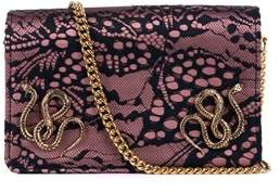 Roberto Cavalli Mauve Pink Lace Snake Clutch Shoulder Bag