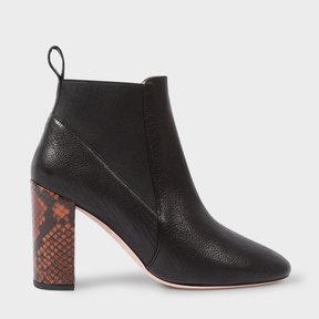 Paul Smith Women's Black Leather And Snake-Effect 'Shawna' Boots