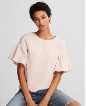 Express textured short bell sleeve top